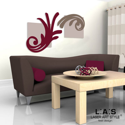 Abstract wall sculptures </br> Code: SI-252 | Size: 150x100 cm </br> Colour: powder/burgundy-dove grey