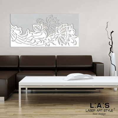 Floral wall sculpture </br> Code: SI-163-SS | Size: 180x90 cm </br> Colour: silver-white