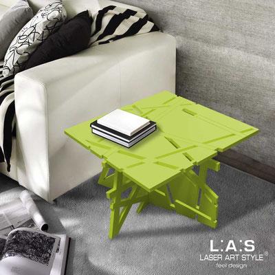 Complementi d'arredo </br> Codice: SI-294 | Misura: 60x60 h40 cm </br> Colore: verde acido-acciaio inox-incisione tono su tono