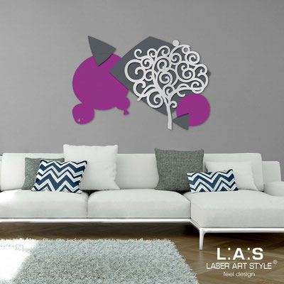 Floral wall sculpture </br> Code: SI-354 | Size: 142x100 cm </br> Colour: violet-charcoal grey-silver