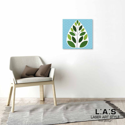 Quarantotto </br>  Codice: Q-007 | Misura: 48x48 cm </br> Colore: decoro verde-incisione legno