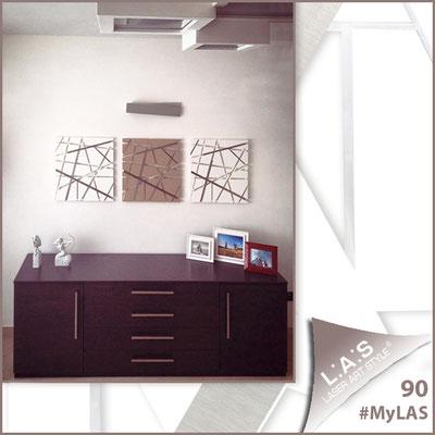 A casa di Francesca <br> Abitazione privata | Italia </br> Codice: SI-095M (Composizione di 3 pz) | Misura: 60x60 cm/cad </br> Colore: bianco/nocciola/bianco - particolari in acciaio inox
