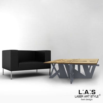 Furnishings </br> Code: MW-295 | Size: 100x60 h40 cm </br> Colour: natural wood-charcoal grey-inox steel-wood engraving