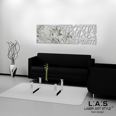 Abstract wall sculptures </br> Code: SI-110-B | Size: 148x50 cm </br> Colour: silver-black engraving