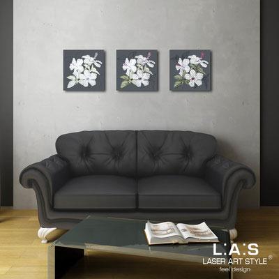 Quadri Floreali </br>  Codice: SI-102   Misura: 3pz 45x45 cm/cad </br>  Colore: antracite-decoro grigio-incisione legno