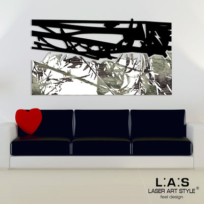 Abstract wall sculptures </br> Code: SI-149 | Size: 2pz 180x100 </br> Colour: black-white-black engraving