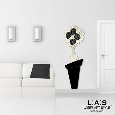 Floral wall sculpture </br> Code: SI-181-B | Size: 56x180 cm </br> Colour: black-black decoration-wood engraving