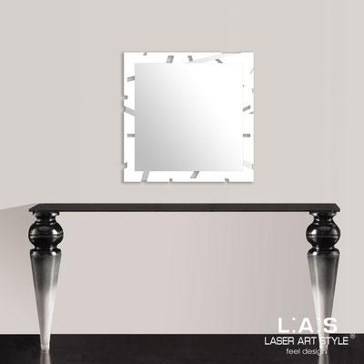 Specchiere </br> Codice: SI-318 | Misura: 60x60 cm </br>  Colore: bianco-acciaio inox
