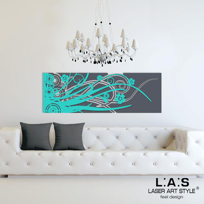 Abstract wall sculptures </br> Code: SI-107-B | Size: 148x50 cm </br> Colour: charcoal grey-turquoise