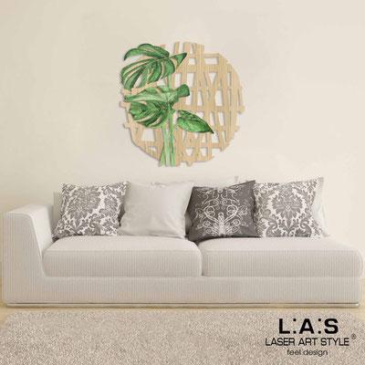 Quadri Figurativi </br> Codice: W-333L | Misura: 90x90 cm </br> Colore: natural wood-decoro verde-incisione legno