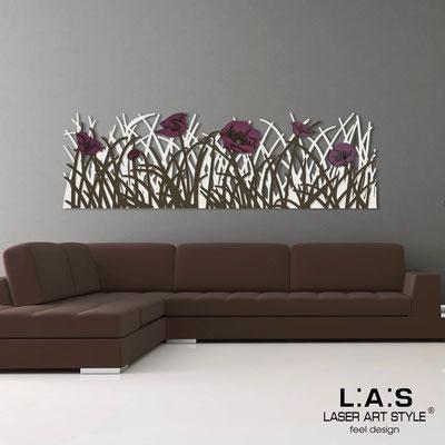 Quadri Floreali </br>  Codice: SI-214   Misura: 180x55 cm </br>  Colore: panna-marrone-decoro violaceo