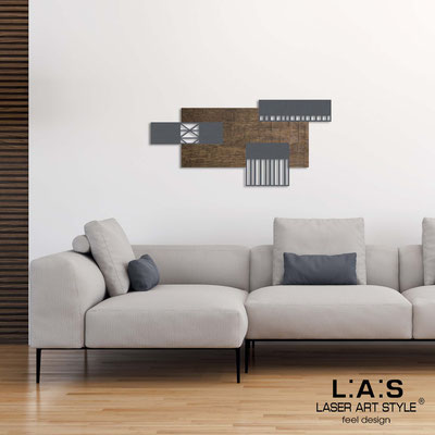 Abstract wall sculptures </br> Code: SI-352 | Size: 125x60 cm </br> Colour: flax decoration-charcoal grey-wood engraving