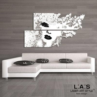 Figurative wall sculpture </br> Code: SI-156 | Size: 2pz 210x120 cm </br> Colour: white-black-wood engraving
