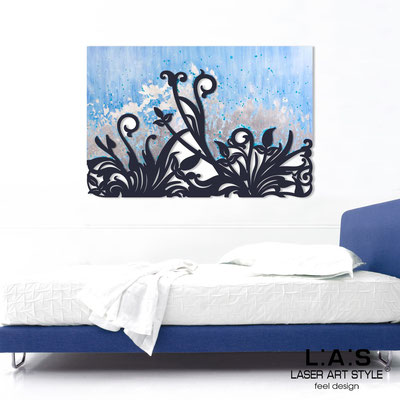 Abstract wall sculptures </br> Code: SI-135 | Size: 150x100 cm </br> Code: SI-135M | Size: 100x67 cm </br> Colour: light blue silver leaf decoration-navy blue