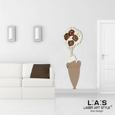 Quadri Floreali </br>  Codice: SI-181-D | Misura: 56x177 cm </br>  Colore: nocciola-decoro marrone-incisione legno