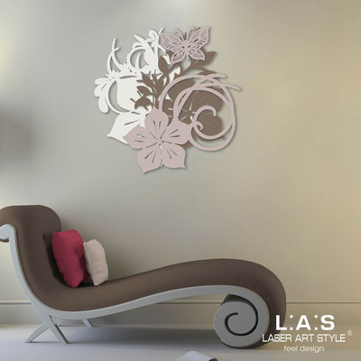 Floral wall sculpture </br> Code: SI-200 | Size: 65x65 cm </br> Code: SI-200L | Size: 90x90 cm </br> Colour: cream-dove grey-powder