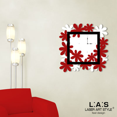 Wall clocks </br> Code: SI-207 | Size: 70x70 cm </br> Colour: white-red-black