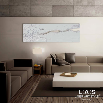 Quadri Astratti </br> Codice: SI-092-B | Misura: 180x58 cm </br> Colore: grigio luce-decoro foglia argento-incisione tono su tono