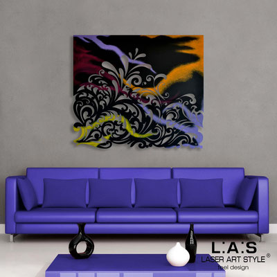 Abstract wall sculptures </br> Code: SI-169 | Size: 100x90 cm </br> Colour: black-multicoloured decoration