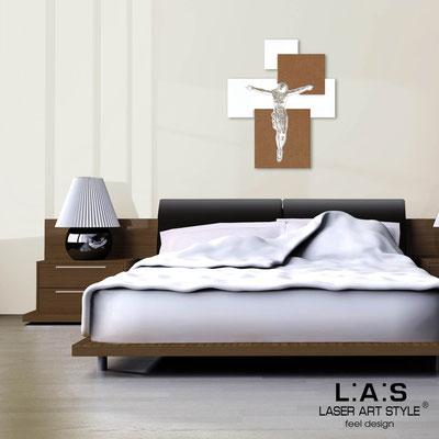 Crucifixes </br> Code: CR19 | Size: 54x65 cm </br> Colour: white-bronze-wood engraving
