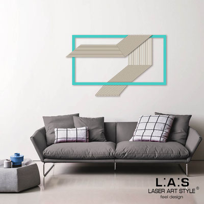 Abstract wall sculptures </br> Code: SI-306 | Size: 120x75 cm </br> Colour: cream-turquoise-wood engraving