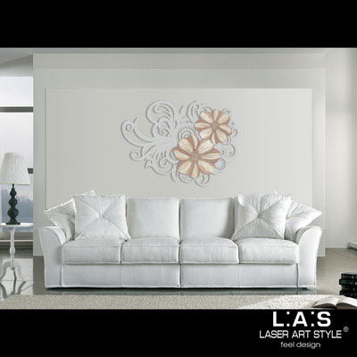 Floral wall sculpture </br> Code: SI-100 | Size: 150x100 cm </br> Code: SI-100M | Size: 100x67 cm </br> Colour: light grey-dusty rose decoration-matched engraving