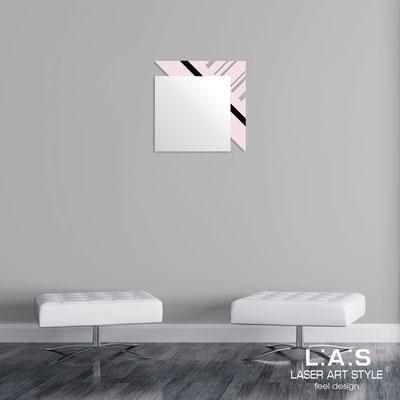Specchiere </br> Codice: SI-358 | Misura: 60x60 cm </br>  Colore: rosa chiaro-nero