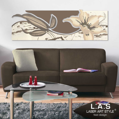 Quadri Floreali </br>  Codice: SI-074-B   Misura: 180x65 cm </br>  Colore: panna-grigio marrone-decoro tortora-incisione tono su tono