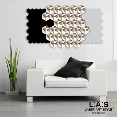 Abstract wall sculptures </br> Code: SI-142 | Size: 125x70 cm </br> Colour: black-light grey-white-wood engraving