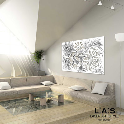 Floral wall sculpture </br> Code: SI-137 | Size: 150x100 cm </br> Code: SI-137M | Size: 100x67 cm </br> Colour: white-black stucco decoration