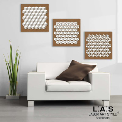 Abstract wall sculptures </br> Code: SI-143 | Size: 3pz 45x45 cm/cad </br> Colour: bronze-white-wood engraving