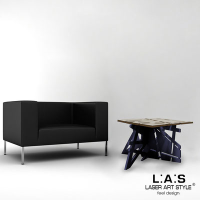 Furnishings </br> Code: MG-294 | Size: 60x60 h40 cm </br> Colour: grey wood-navy blue-inox steel-wood engraving