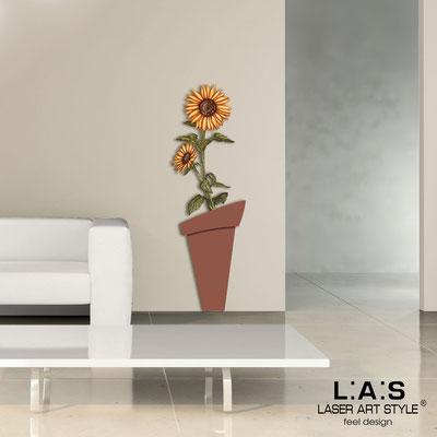 Floral wall sculpture </br> Code: SI-179-B | Size: 57x178 cm </br> Colour: tile-rusty colour decoration-wood engraving