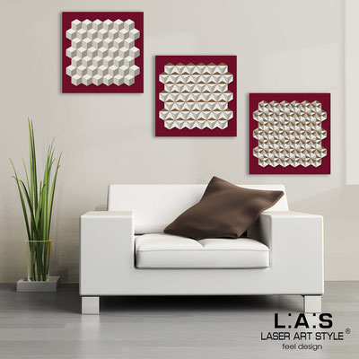 Abstract wall sculptures </br> Code: SI-143 | Size: 3pz 45x45 cm/cad </br> Colour: burgundy-cream-wood engraving