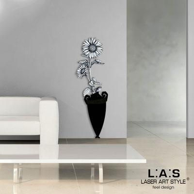 Quadri Floreali </br>  Codice: SI-179-D | Misura: 54x176 cm </br>  Colore: nero-decoro nero-incisione legno