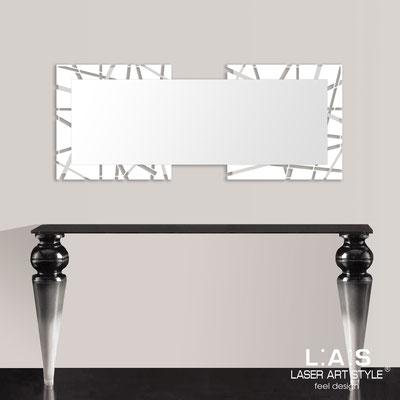 Specchiere </br> Codice: SI-095-SP | Misura: 134x54 cm </br>  Colore: bianco-acciaio inox