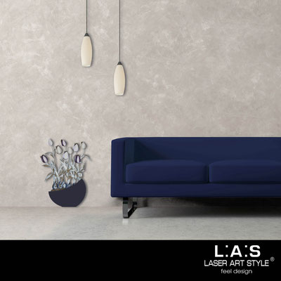 Quadri Floreali </br>  Codice: SI-193-E | Misura: 55x74 cm </br>  Colore: blu petrolio-decoro violaceo-incisione legno