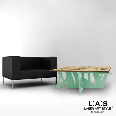 Furnishings </br> Code: MW-295   Size: 100x60 h40 cm </br> Colour: natural wood-sage-inox steel-wood engraving