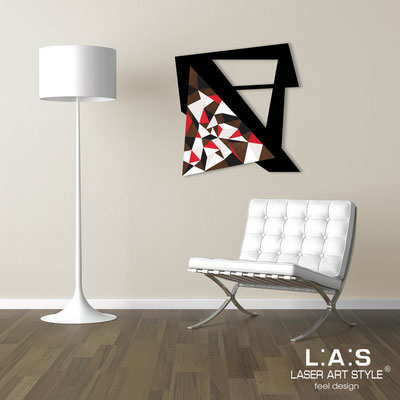 Abstract wall sculptures </br> Code: SI-270-A | Size: 65x65 cm </br> Colour: black-red decoration-wood engraving