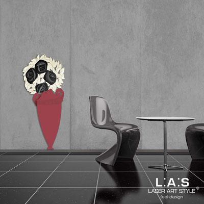 Quadri Floreali </br>  Codice: SI-182-D | Misura: 55x125 cm </br>  Colore: rosso violetto-decoro nero-incisione legno