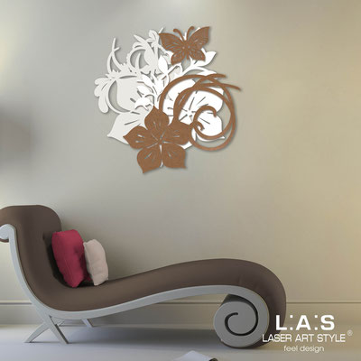 Floral wall sculpture </br> Code: SI-200 | Size: 65x65 cm </br> Code: SI-200L | Size: 90x90 cm </br> Colour: cream-white-bronze