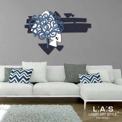 Floral wall sculpture </br> Code: SI-355 | Size: 150x100 cm </br> Colour: navy blue-white-denim