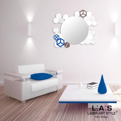 Specchiere </br> Codice: SI-330 | Misura: 90x75 cm </br>  Colore: bianco-decoro bluette-incisione tono su tono