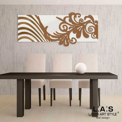 Abstract wall sculptures </br> Code: SI-134 | Size: 150x60 cm </br> Colour: cream-bronze-wood engraving