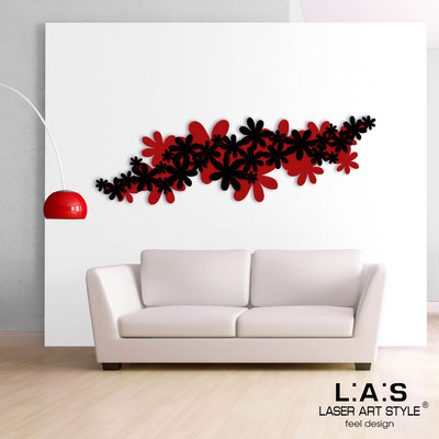 Floral wall sculpture </br> Code: SI-208 | Size: 180x60 cm </br> Colour: red-black