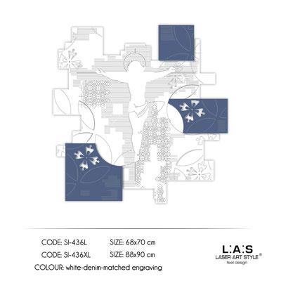 News </br>  Code: SI-436L | Size: 68x70 cm </br>  Code: SI-436XL | Size: 88x90 cm </br> Colour: white-denim-matched egraving