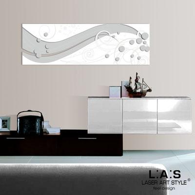 Quadri Astratti </br> Codice: SI-108-B | Misura: 180x58 cm </br> Colore: grigio luce-bianco-incisione legno