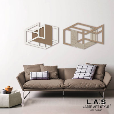 Abstract wall sculptures </br> Code: SI-308 | Size: 2 pz 180x60 cm </br> Colour: cream-hazel-wood engraving