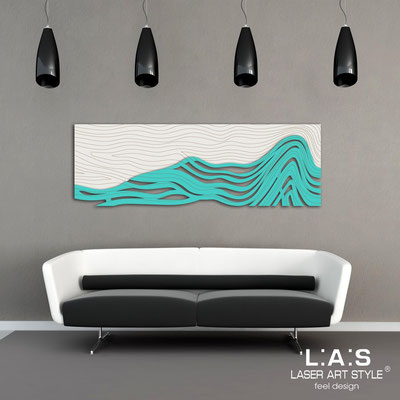 Figurative wall sculpture </br> Code: SI-178 | Size: 180x60 cm </br> Colour: cream-turquoise-wood engraving