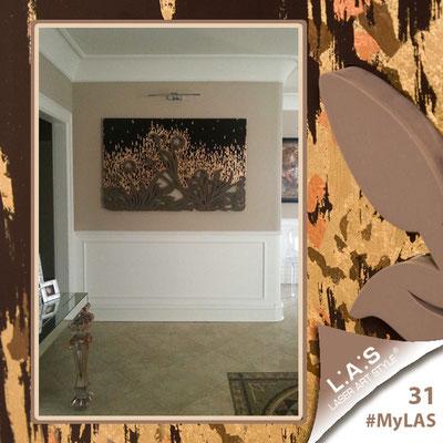 A casa di Gabriella <br> Abitazione privata   Italia </br> Codice: SI-135   Misura: 150x100 cm </br> Colore: marrone foglia oro e rame - applicazione grigio marrone